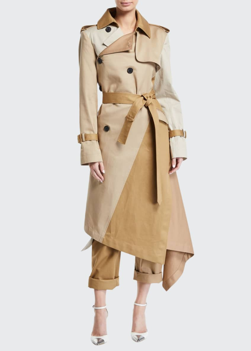 Monse Two-Tone Patchwork Khaki Twisted Trench Coat &