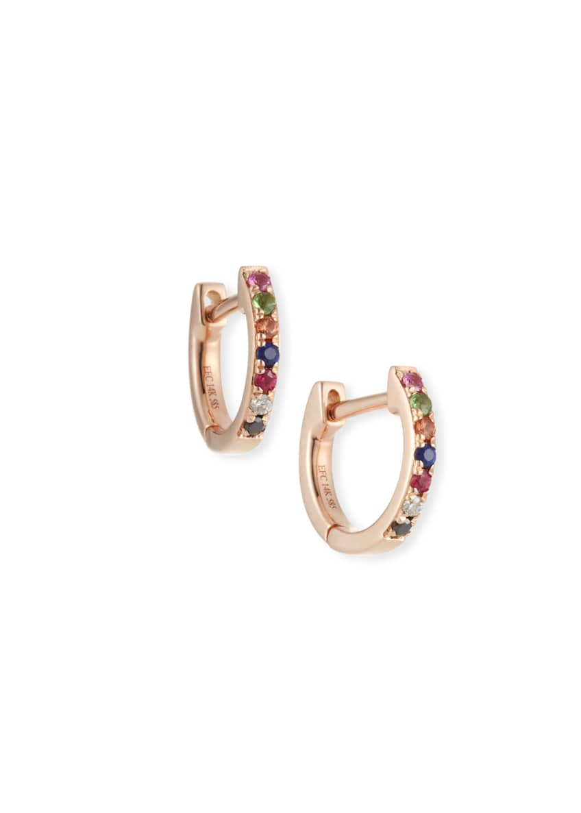 EF Collection 14k Rainbow Mini Huggie Earrings