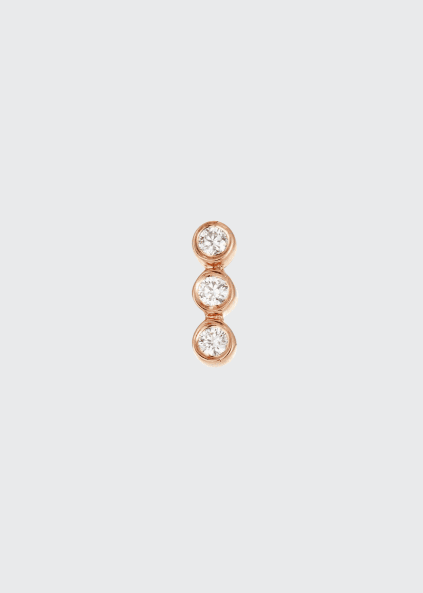 EF Collection 14k Rose Gold Triple Diamond Earring