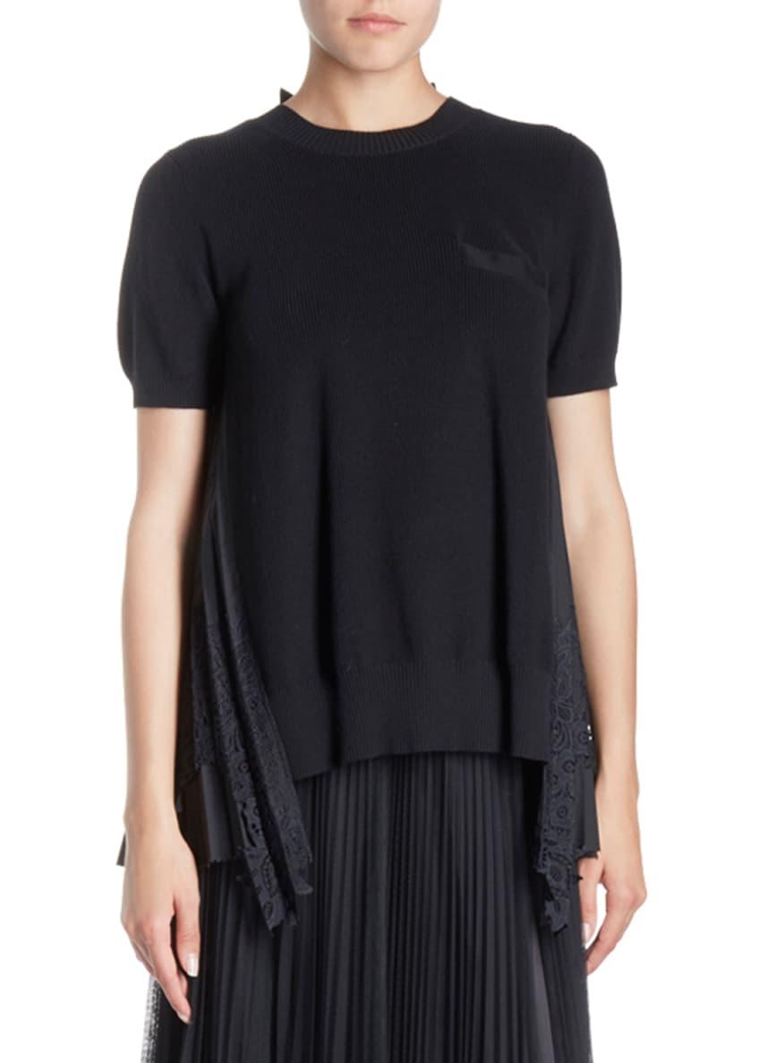 SACAI Crewneck Short-Sleeve Lace-Back Knit Top & Matching