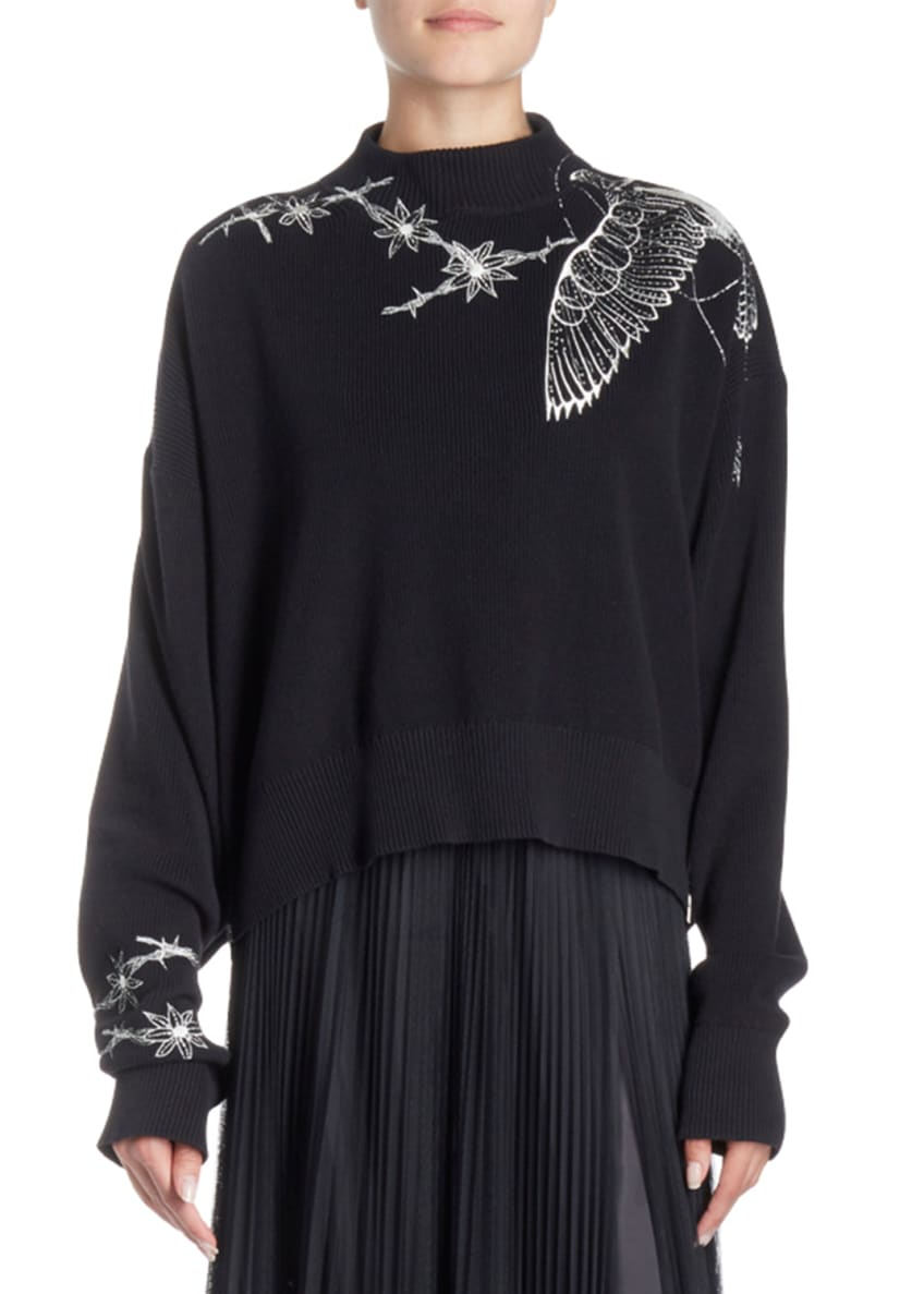 SACAI Floral-Embroidered Mock-Neck Pullover Sweater & Matching
