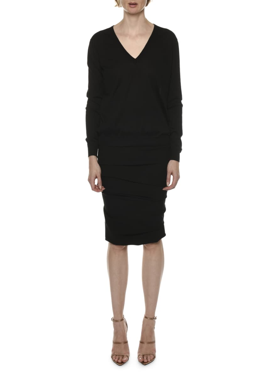 TOM FORD Long-Sleeve V-Neck Cashmere-Silk Top & Matching