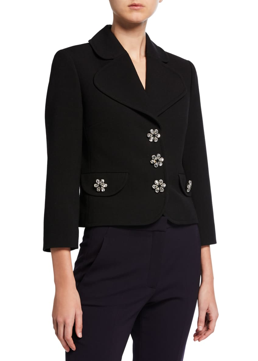 Michael Kors Collection Jewel-Buttons Cropped Wool Crepe