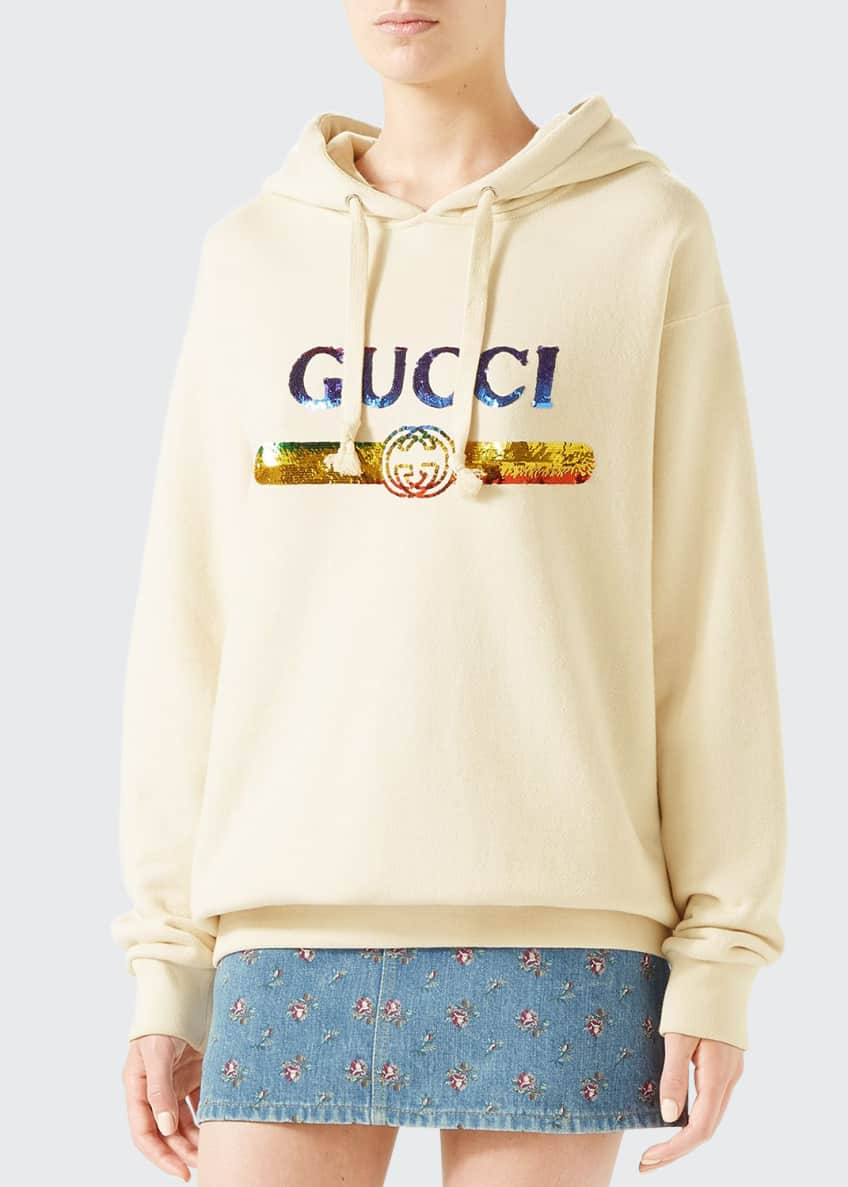 Gucci Sequin Logo Hooded Sweatshirt & Matching Items