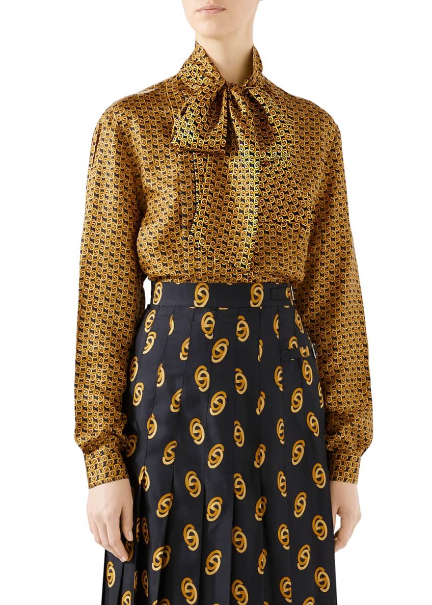 Gucci Logo Motif Silk Tie-Neck Shirt & Matching