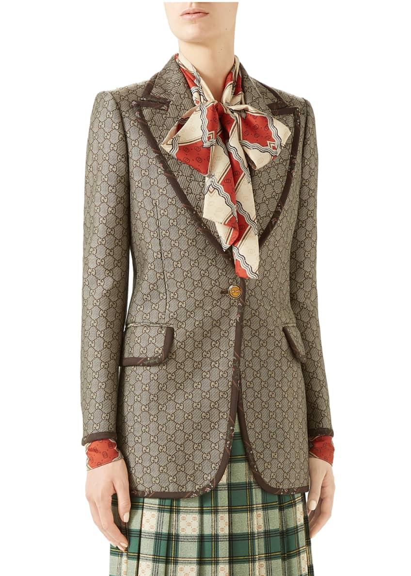 Gucci Jacket Gg Wool Canvas & Matching Items
