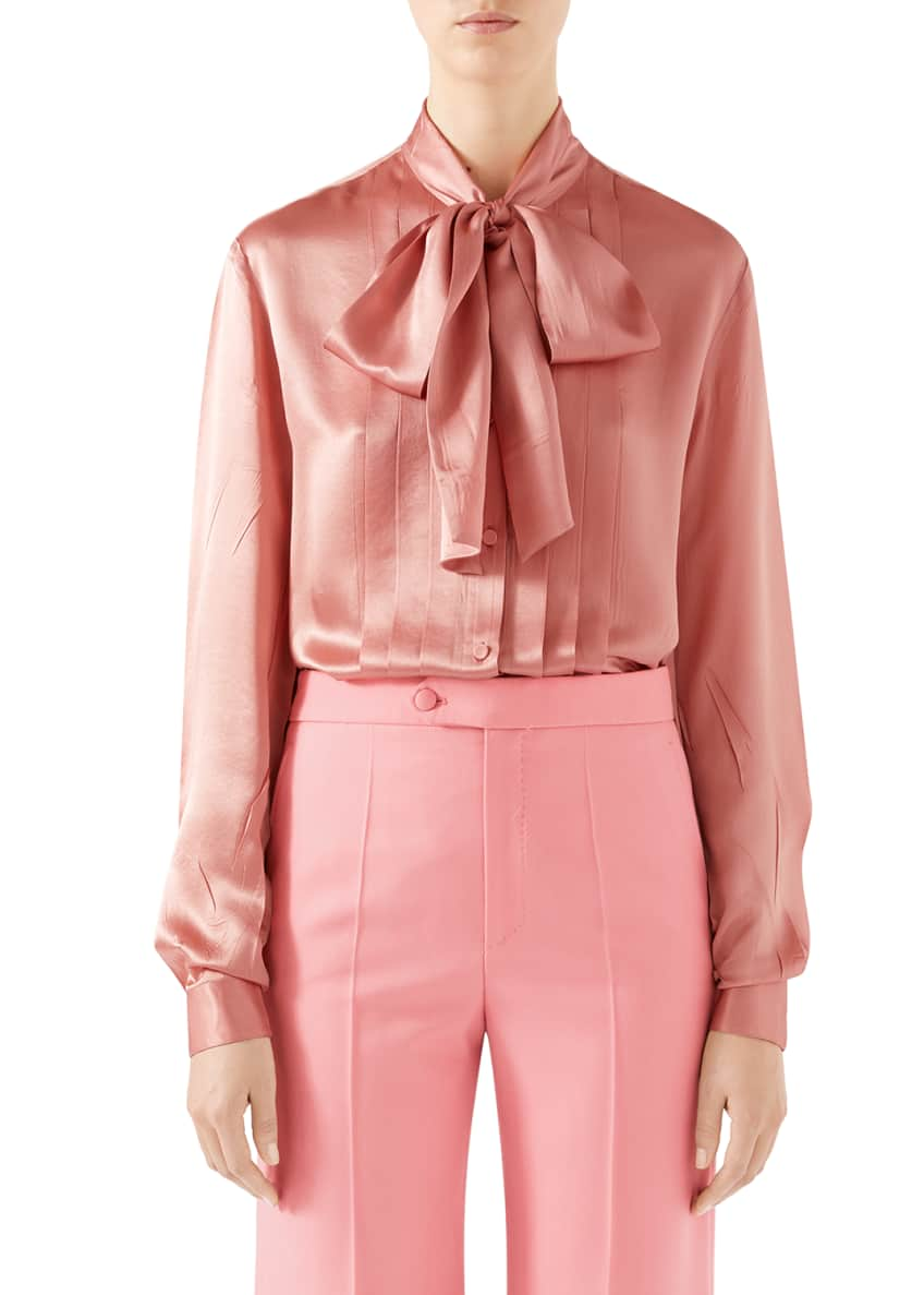 Gucci Tie-Neck Washed Silk Satin Shirt & Matching