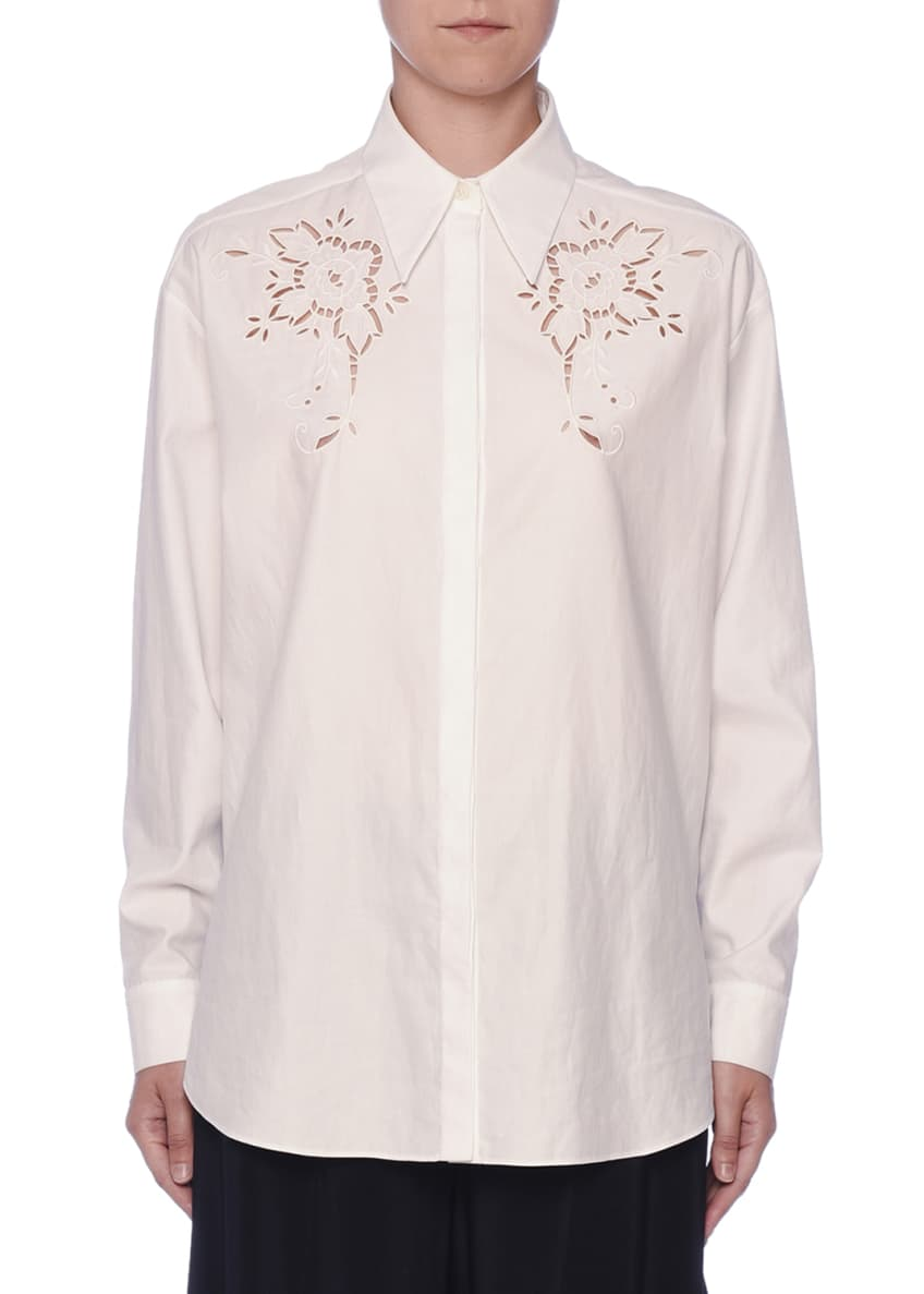 Stella McCartney Eyelet-Embroidered Cotton Button-Front Blouse &