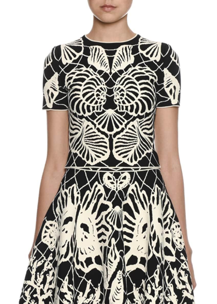 Alexander McQueen Short-Sleeve Shell-Print Top & Matching Items