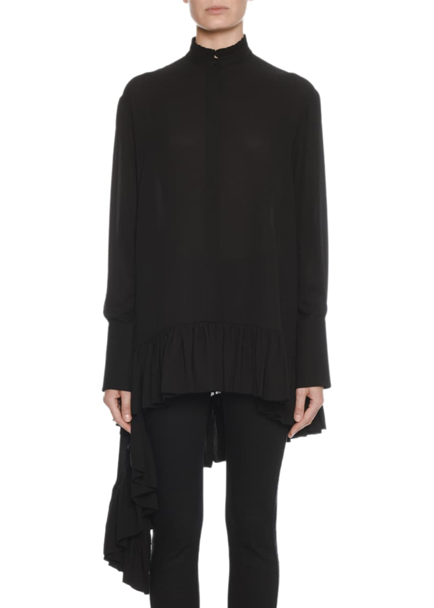 Alexander McQueen Oversized Asymmetric Draped Silk Blouse &
