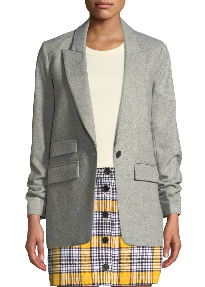 Veronica Beard Martel Single-Button Wool Dickey Jacket &
