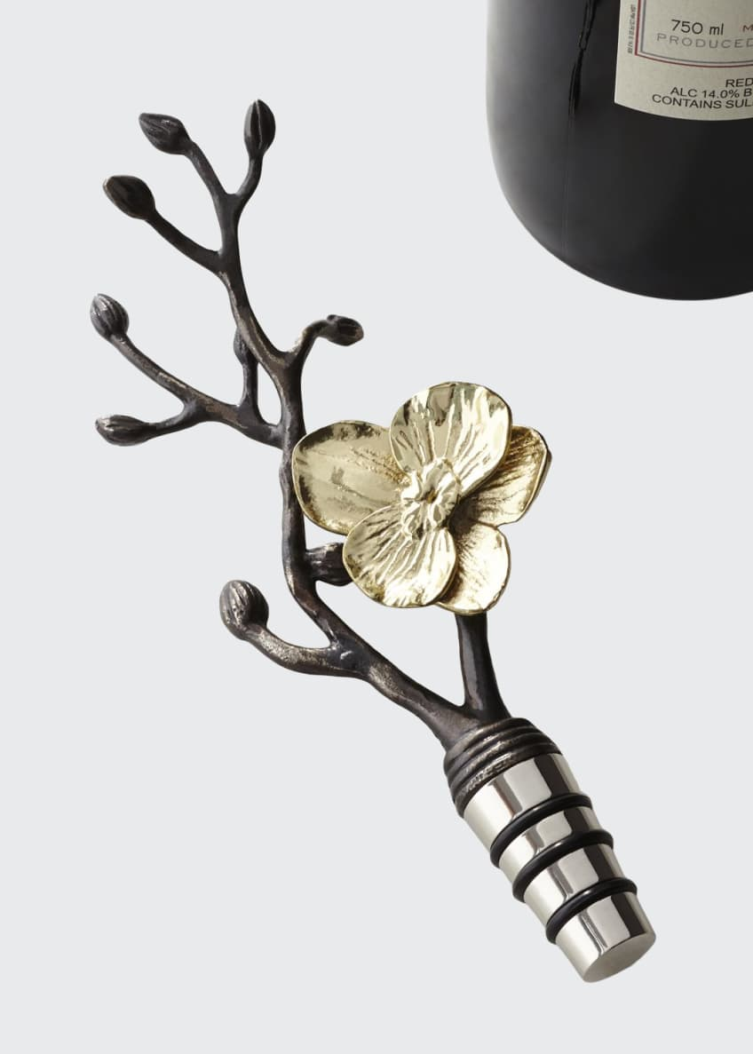 Image 1 of 3: Gold Orchid Wine Stopper