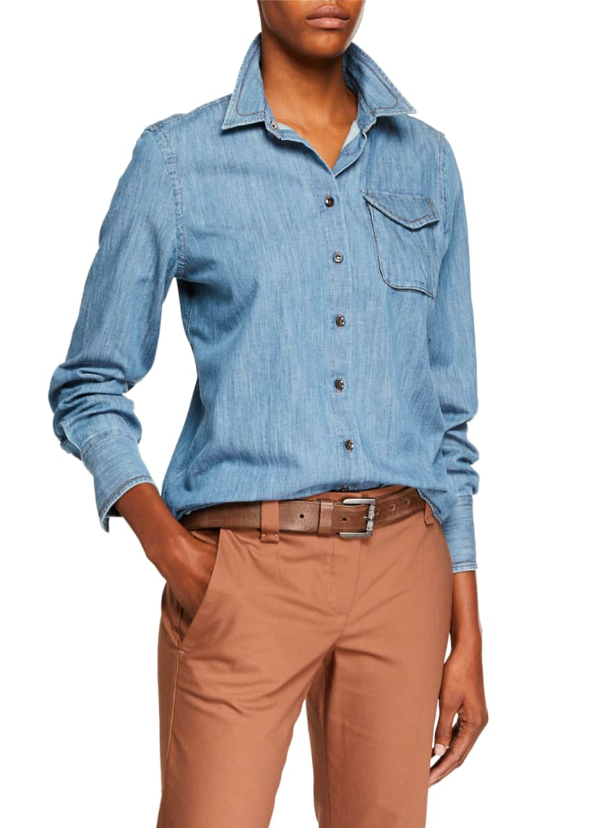 Brunello Cucinelli Safari-Pocket Denim Button-Front Blouse &