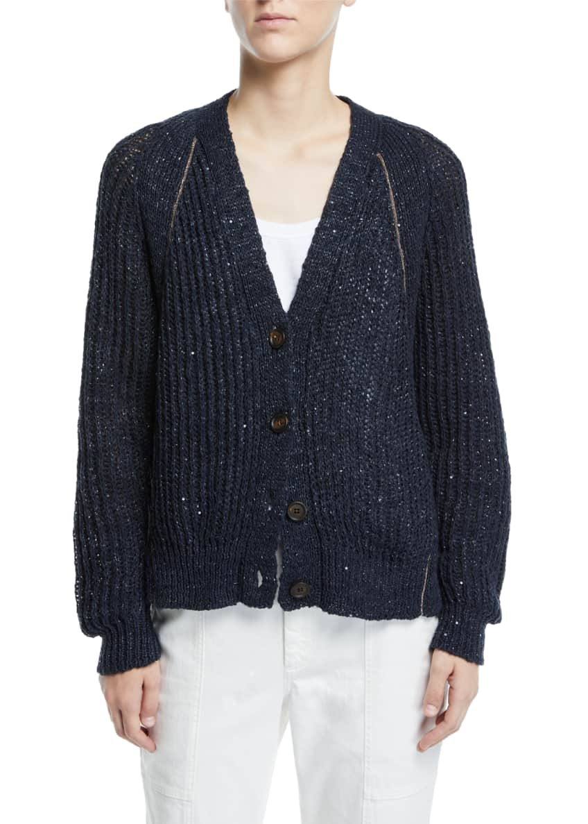 Brunello Cucinelli Shimmer Linen-Silk Ribbed Cardigan & Matching