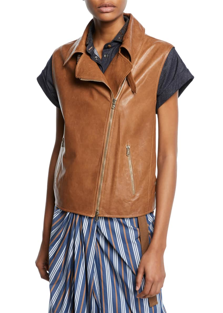 Brunello Cucinelli Monili-Beaded Napa Leather Moto Vest &