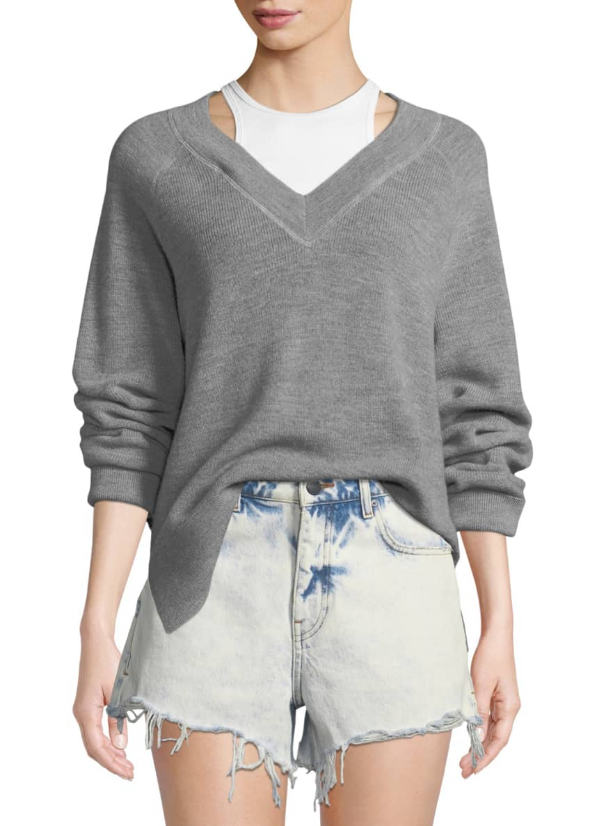 alexanderwang.t Long-Sleeve Wool Raglan Sweater with Tank &