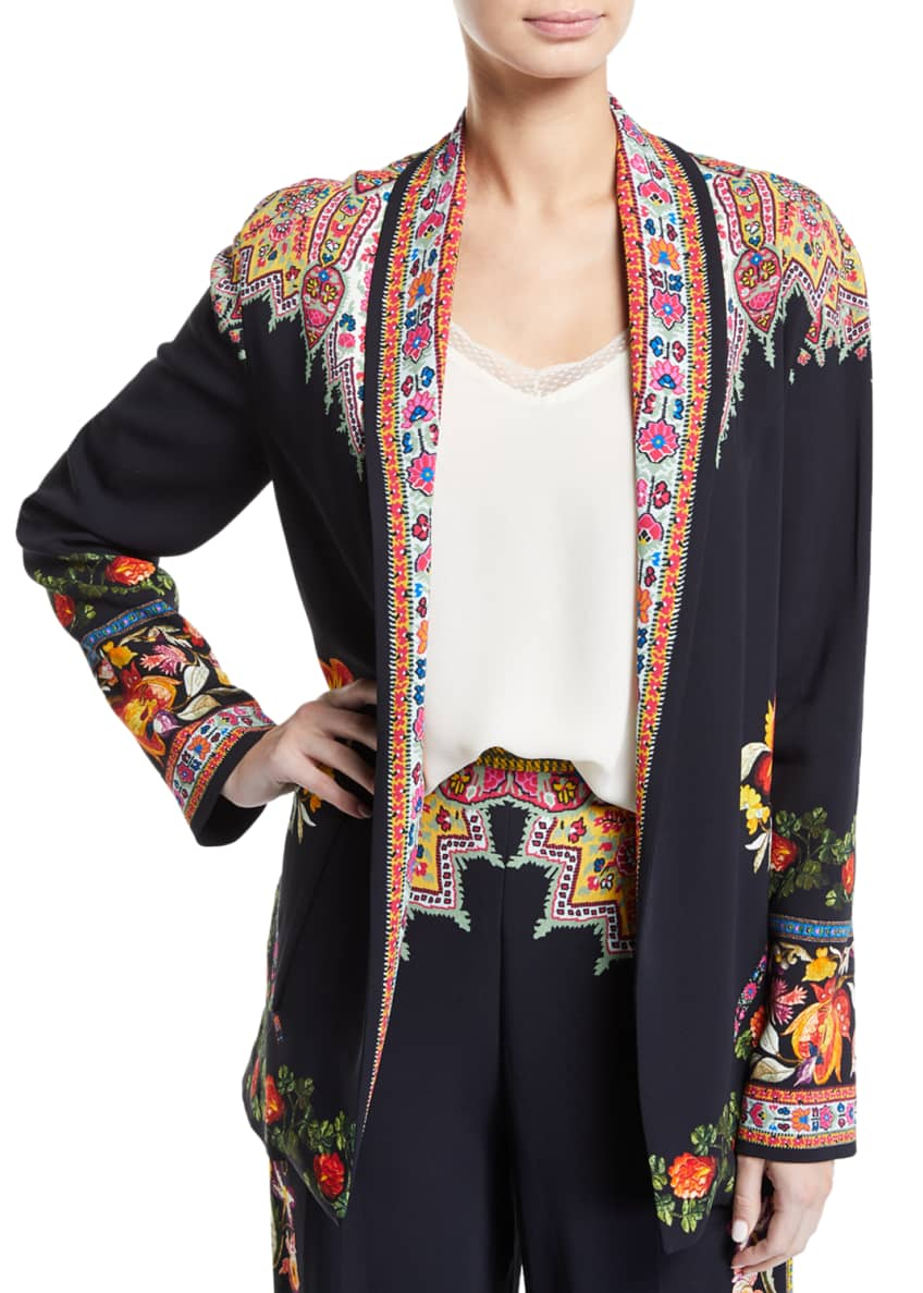 Etro Floral-Border Knit Open Front Jacket & Matching