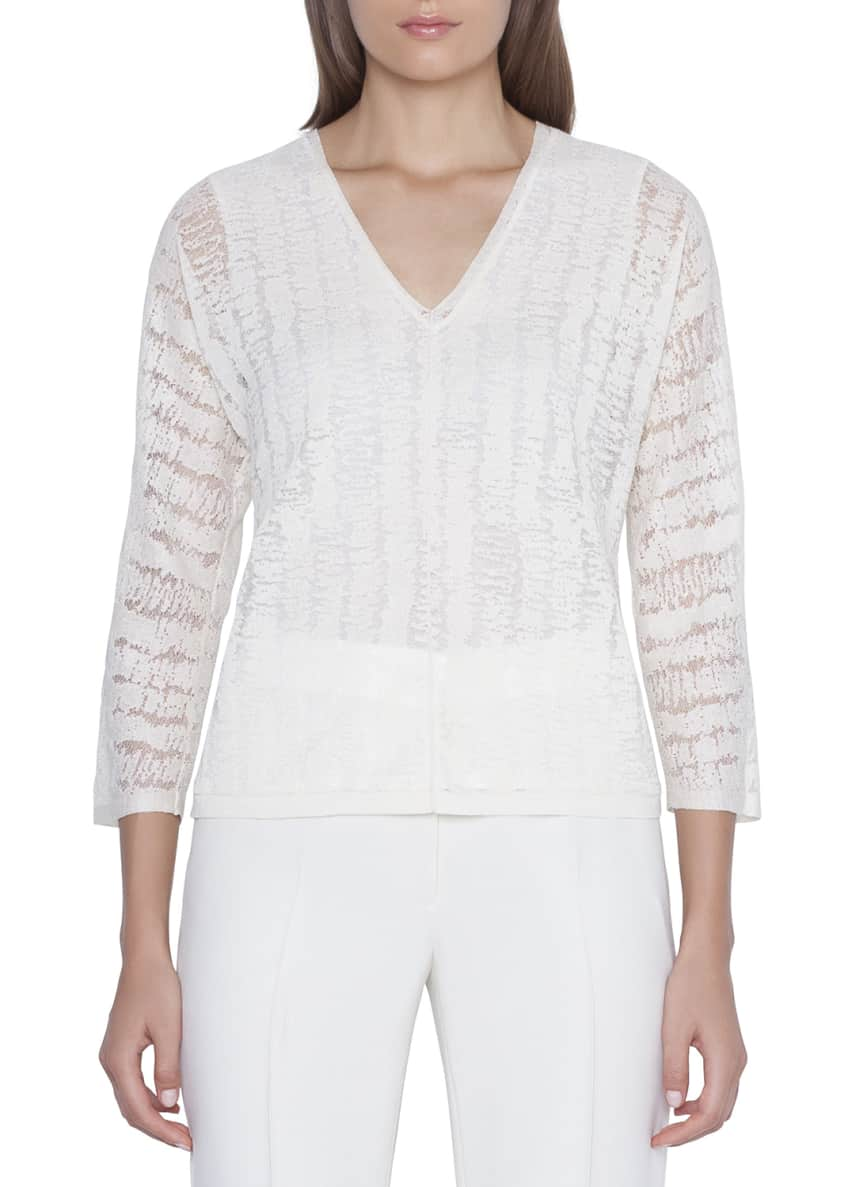 Akris V-Neck Scribble-Burnout Sweater & Matching Items