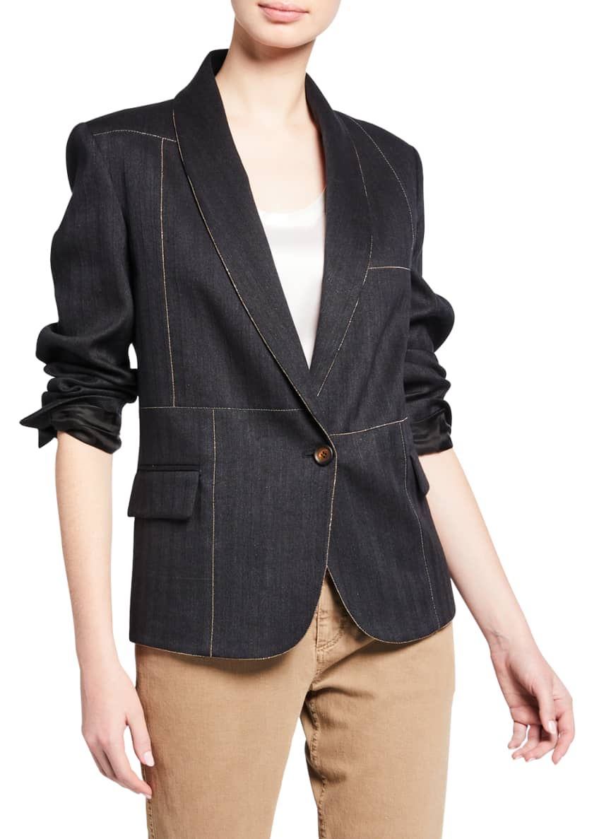 Brunello Cucinelli Monili-Beaded Denim Blazer & Matching Items