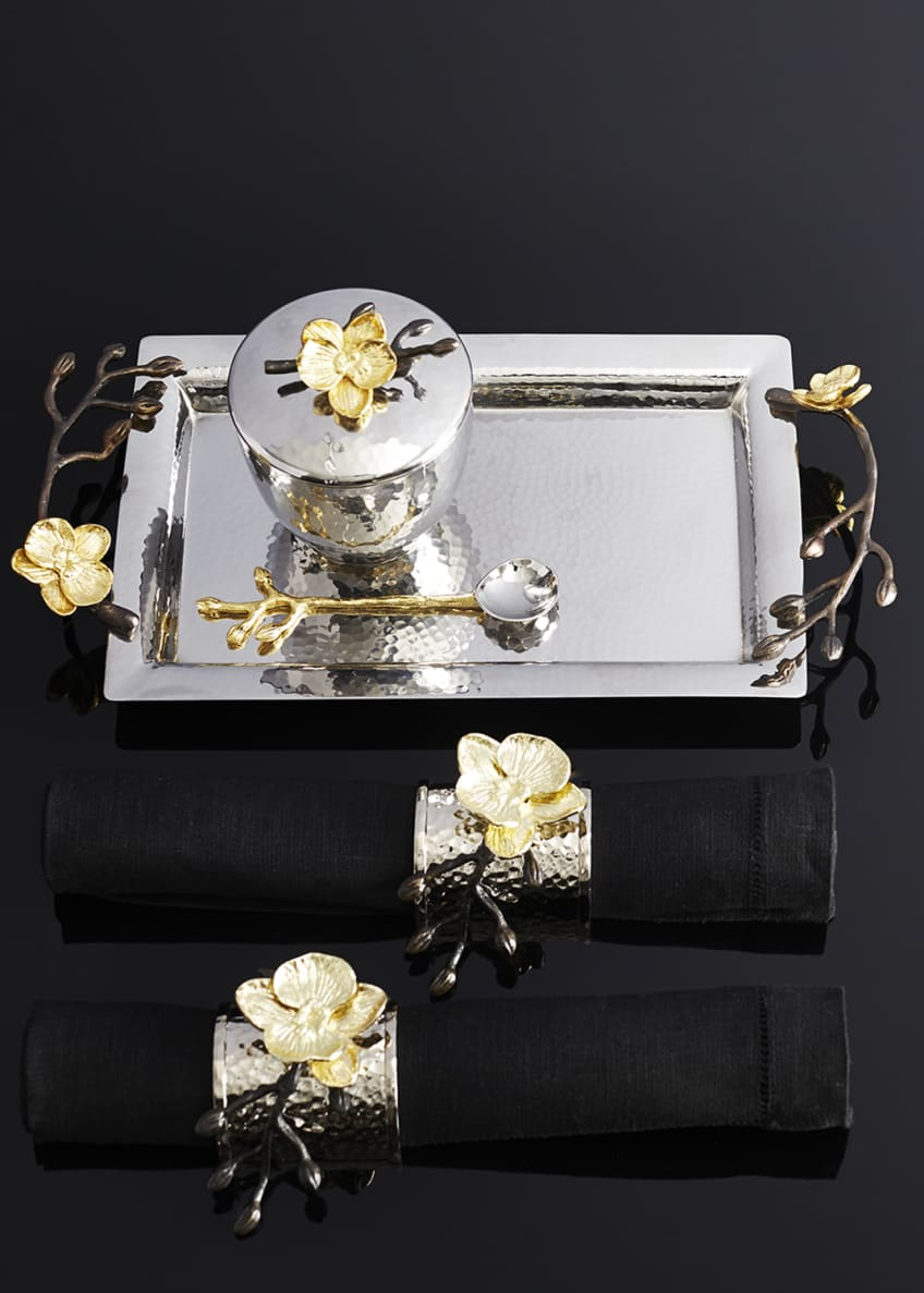 Image 2 of 2: Four Gold Orchid Napkin Rings