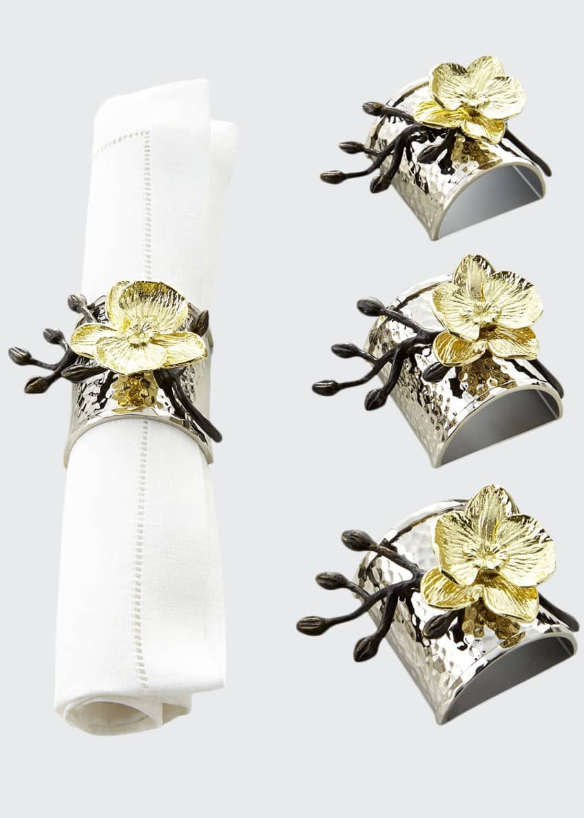 Image 1 of 2: Four Gold Orchid Napkin Rings