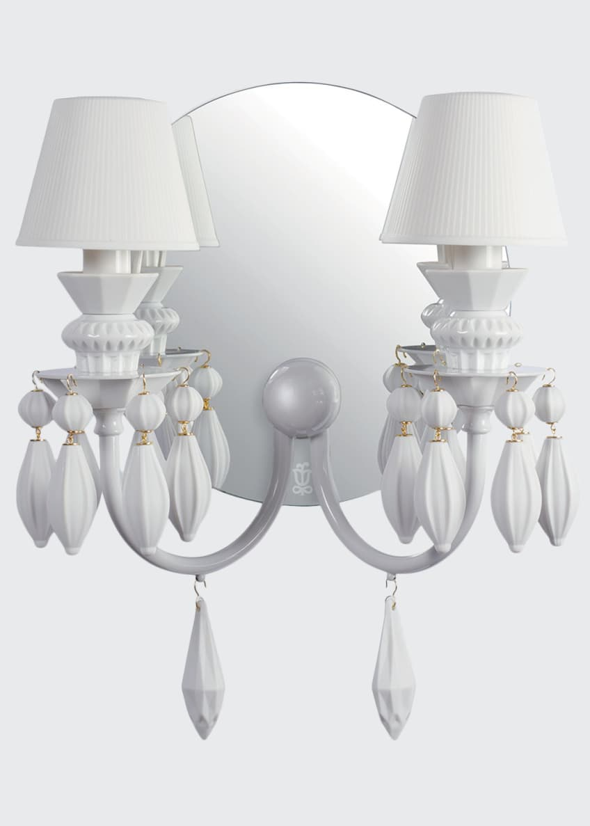 Image 1 of 1: Belle de Nuit 2-Light Wall Sconce, White