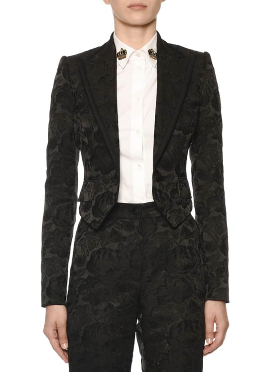 Dolce & Gabbana Floral-Jacquard Crop Blazer & Matching