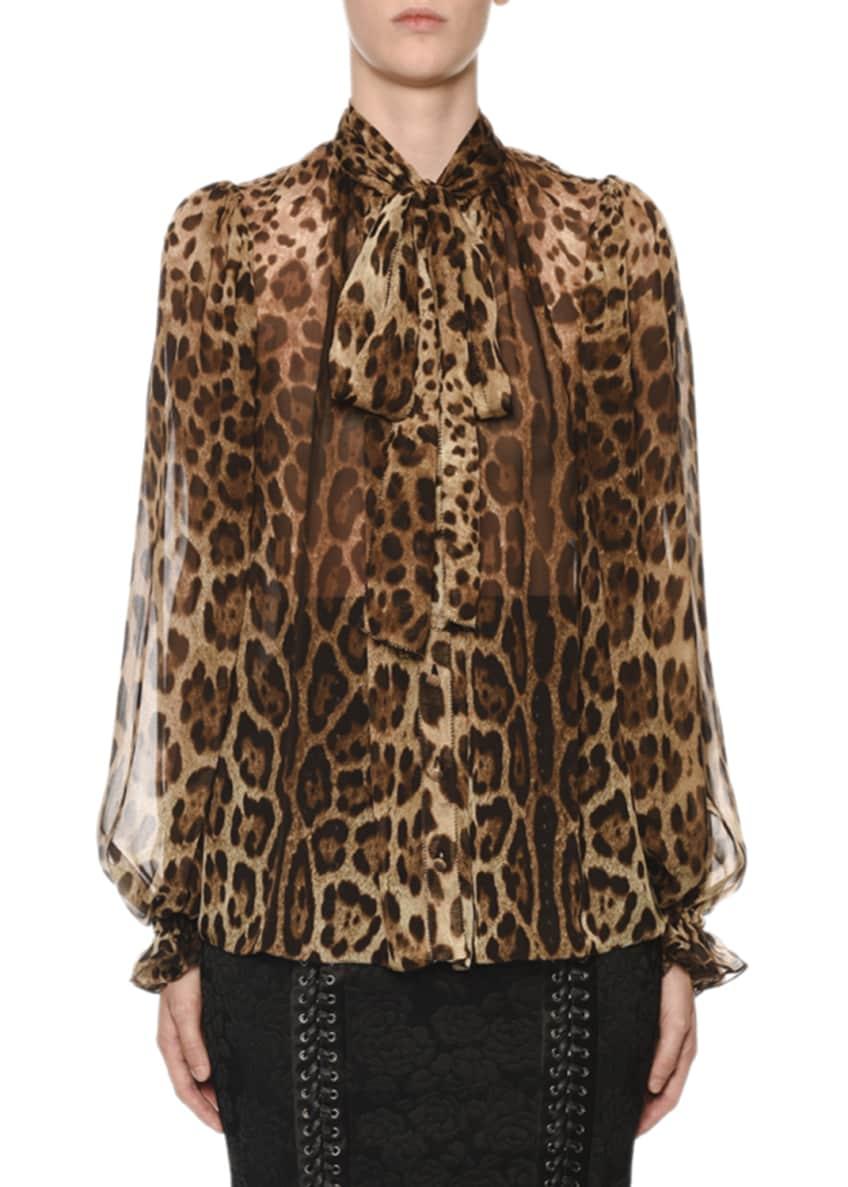 Dolce & Gabbana Tie-Neck Leopard Chiffon Blouse &