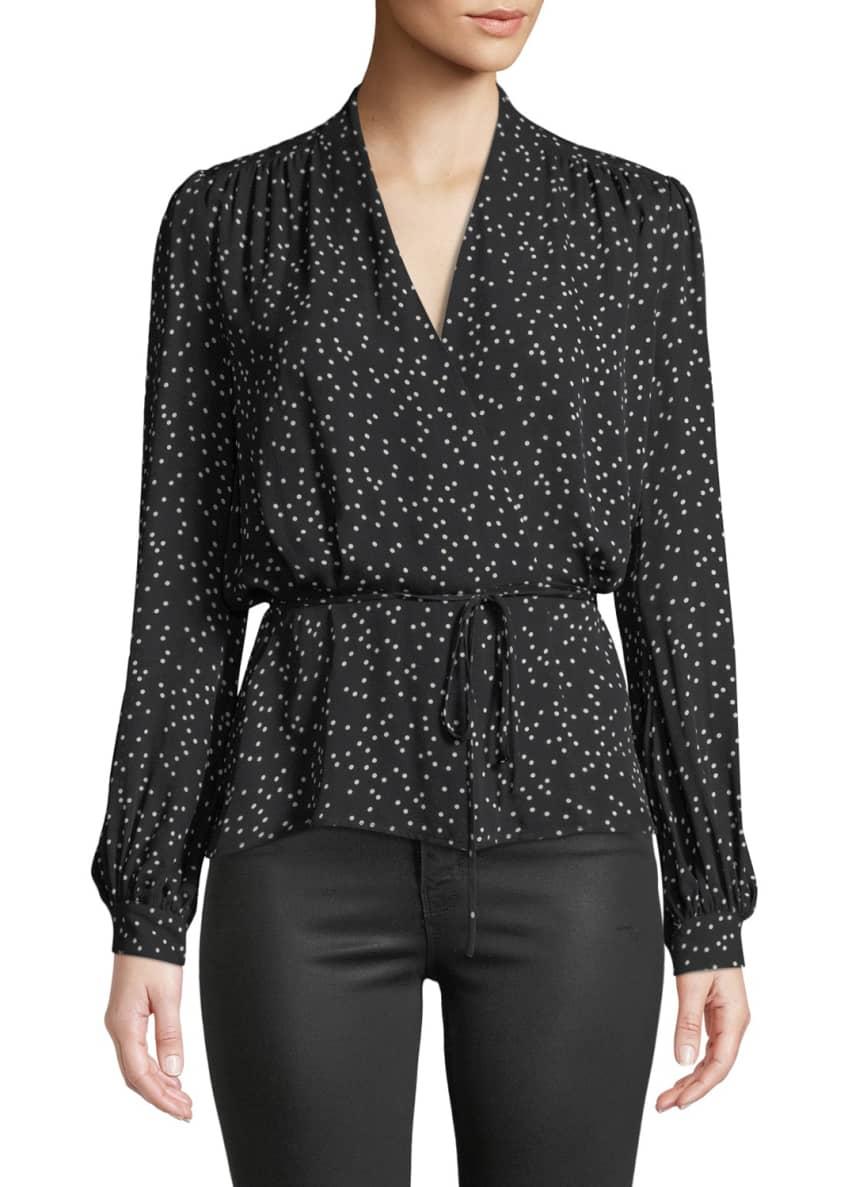 L'Agence Cara Dot-Print Silk Wrap Blouse & Matching