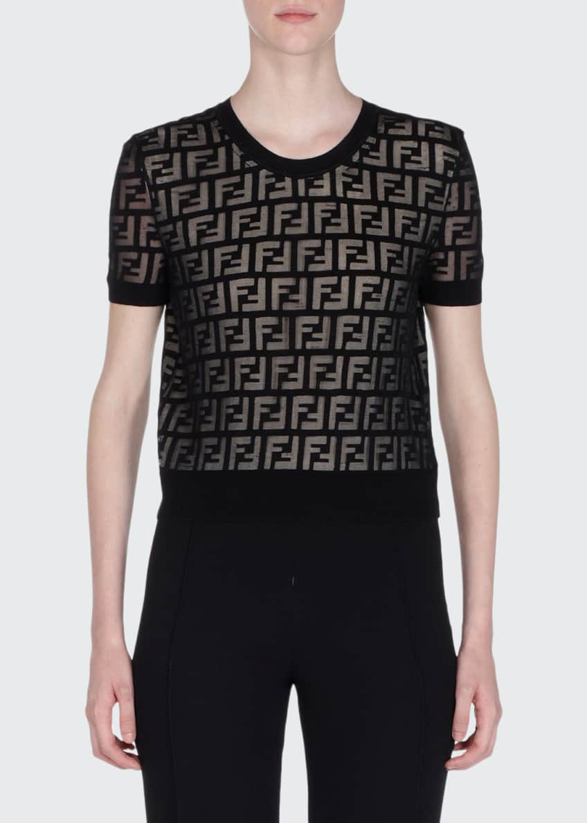 Fendi Short-Sleeve Logo-Devore Knit Top & Matching Items