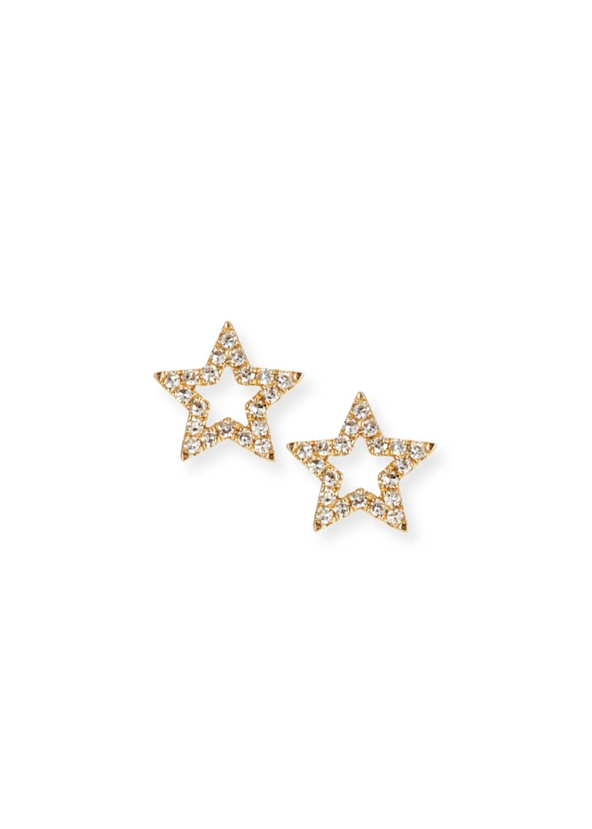 EF Collection 14k Gold Diamond Open-Star Stud Earrings