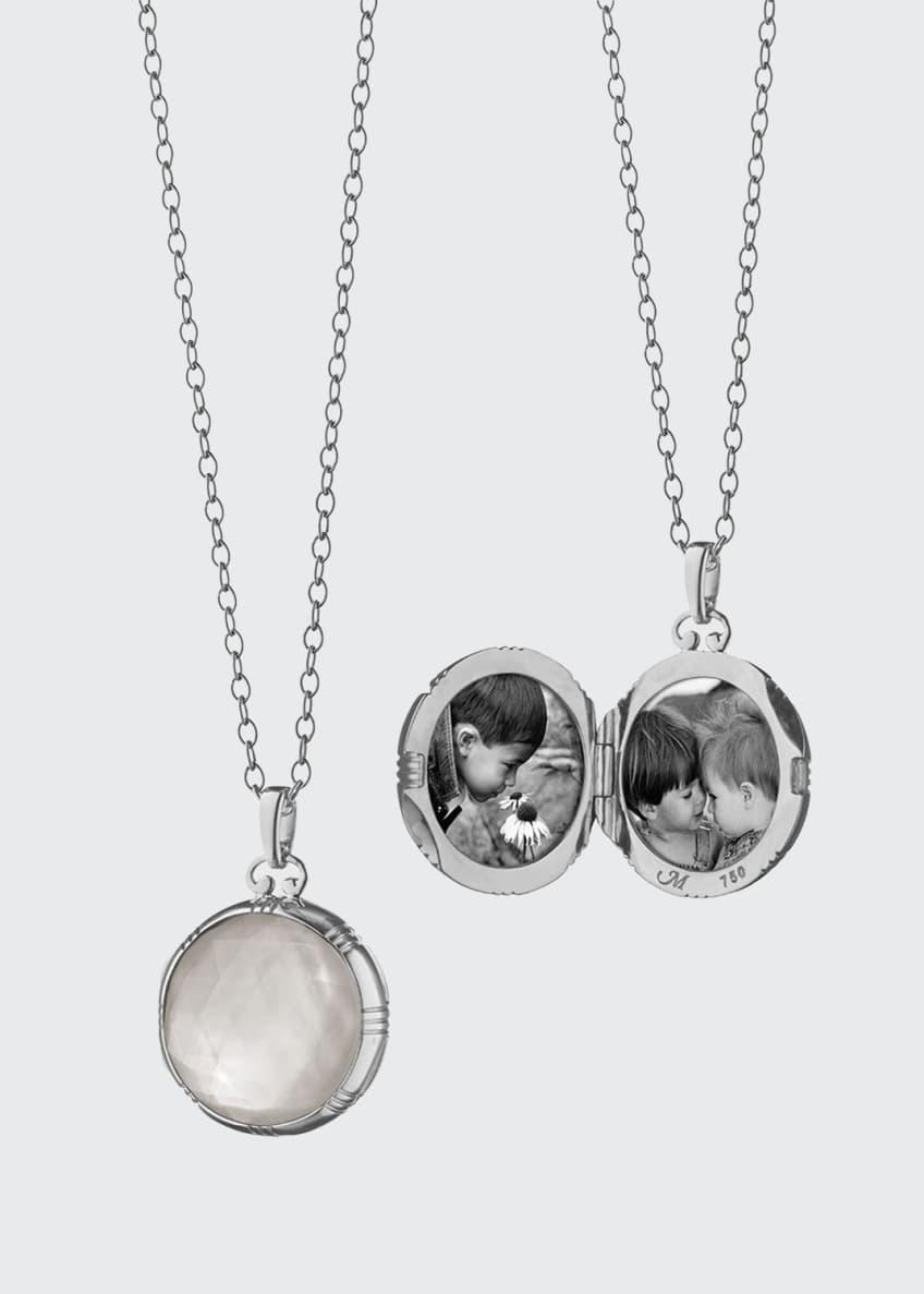 Monica Rich Kosann 18k White Crystal Mother-of-Pearl Locket