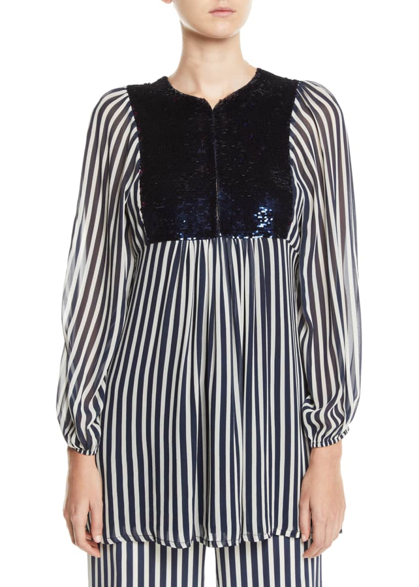 Figue Lucie Striped Blouse with Reversible Sequin Bib