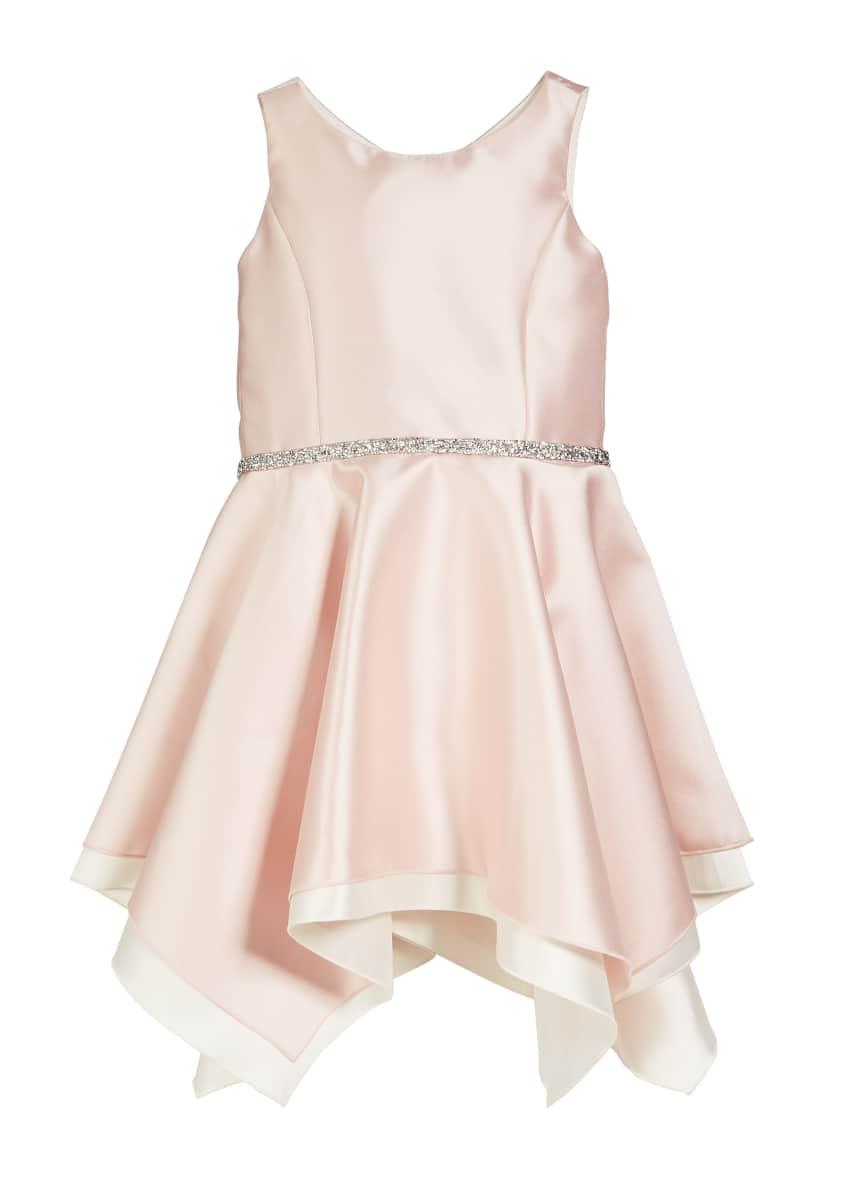 Zoe Sleeveless Handkerchief Dress with Crystal Belt, Size