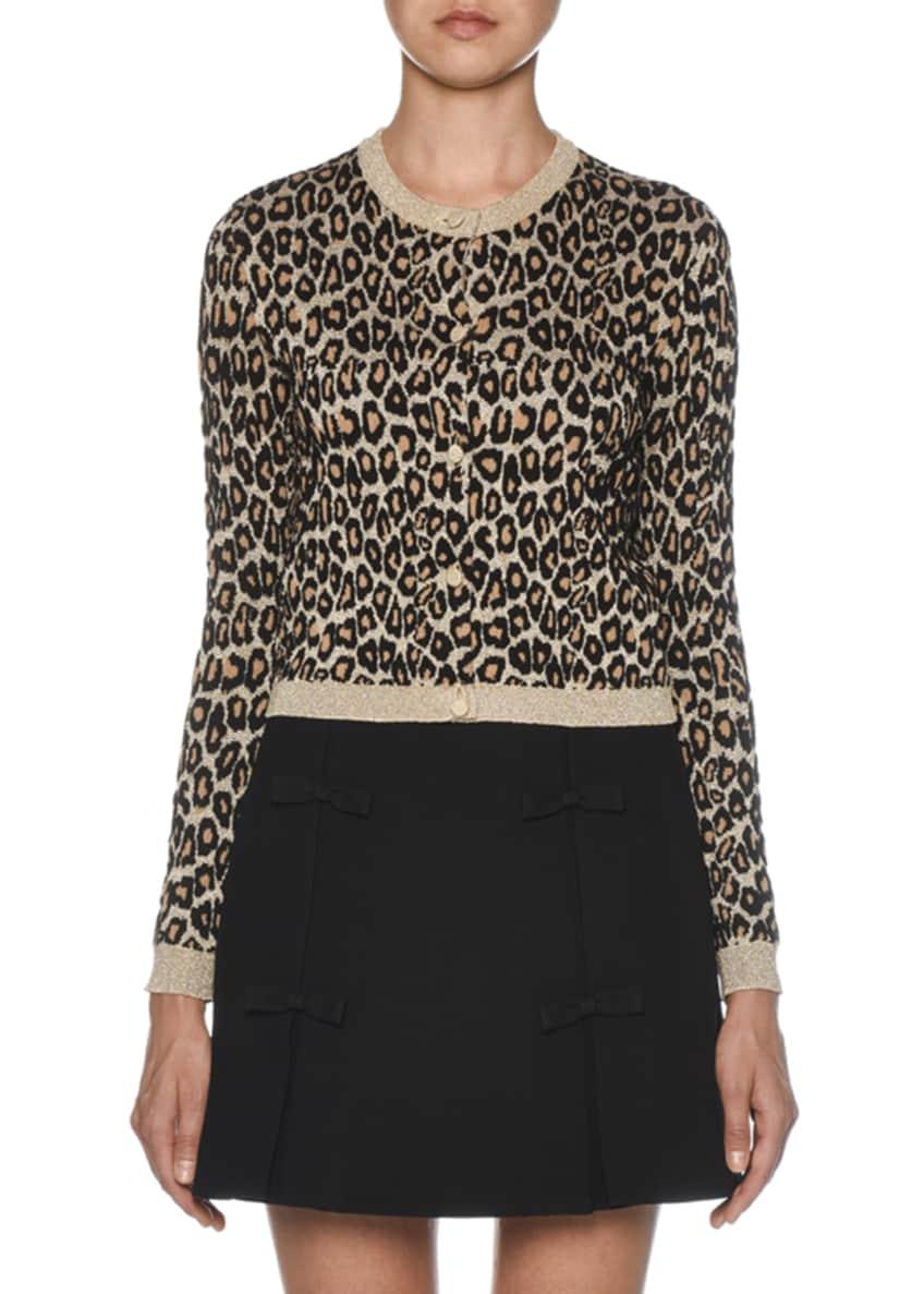 Miu Miu Shimmer-Trimmed Leopard Knit Cardigan & Matching