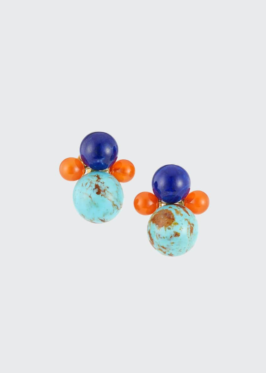 Ippolita Nova 18k Gold 4-Bead Snowman Clip-On Earrings