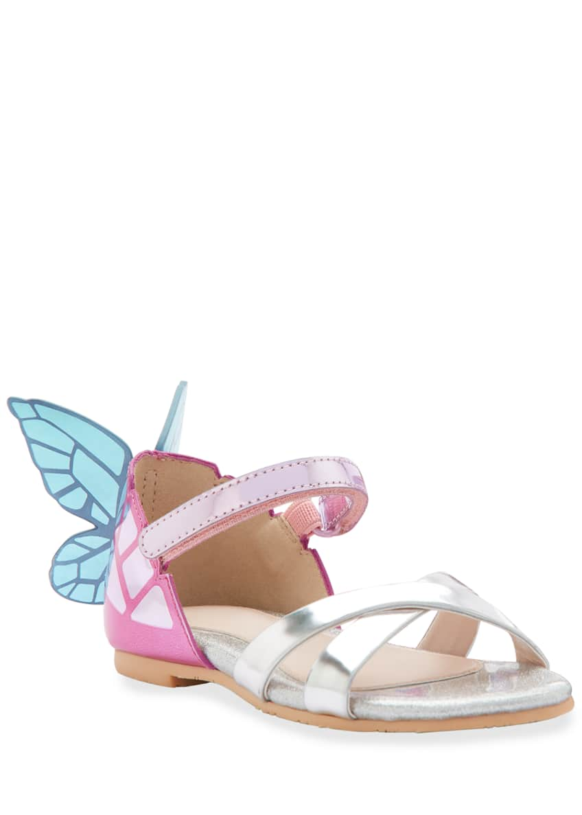 Sophia Webster Chiara Mirrored Leather Butterfly Sandals, Toddler