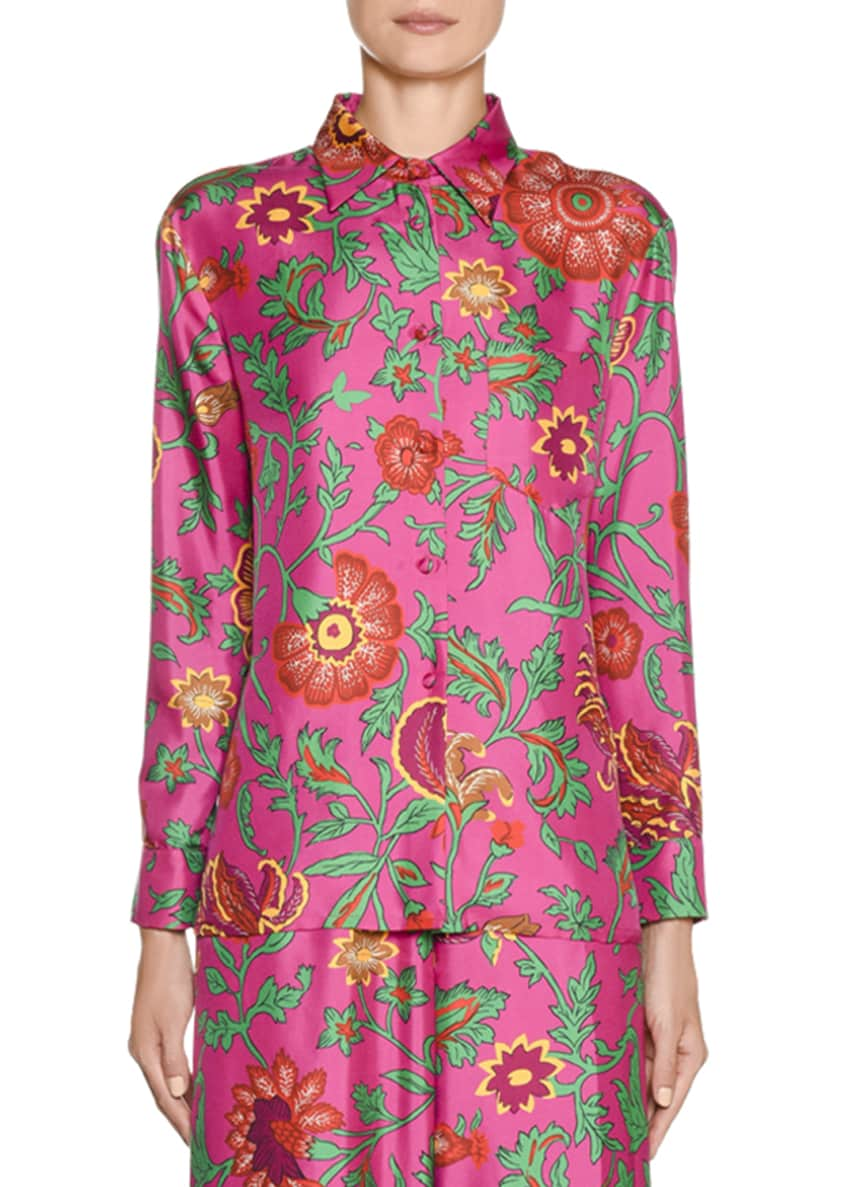 Double J New Boy Floral-Silk Button-Front Shirt &