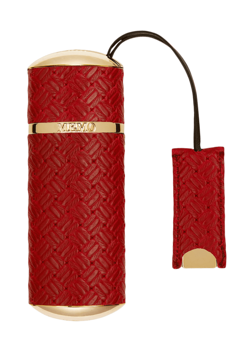Image 1 of 1: Red Knitted Refillable Travel Spray