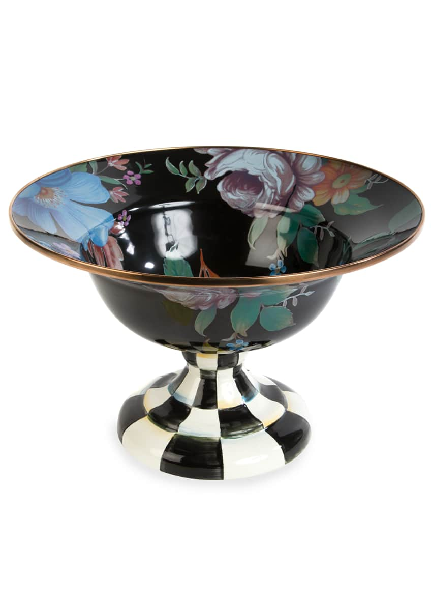 MacKenzie-Childs Flower Market Large Compote, Black