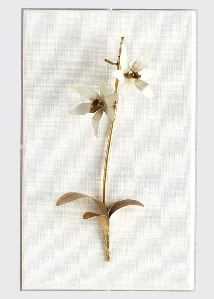 Image 1 of 1: Original Gilded Orchid on White Linen