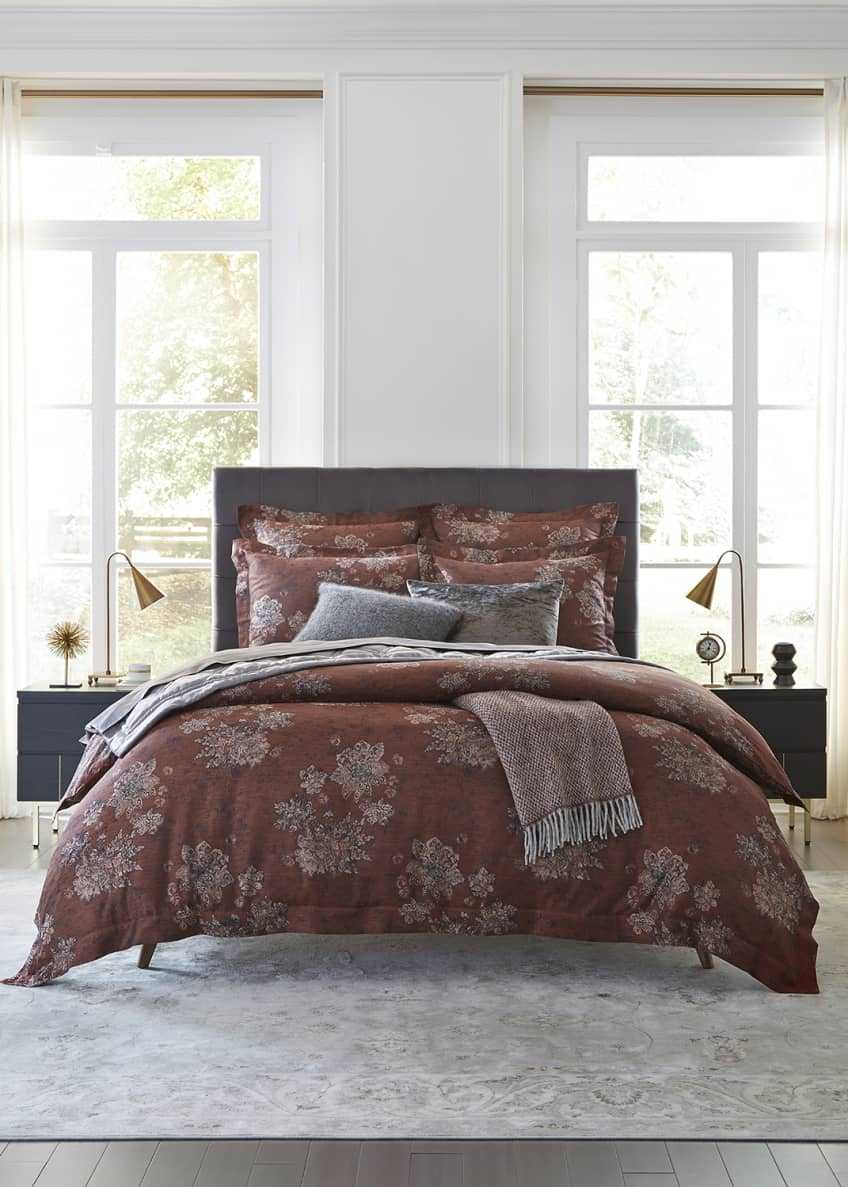 Image 1 of 3: Stamped Floral Full/Queen Duvet Cover