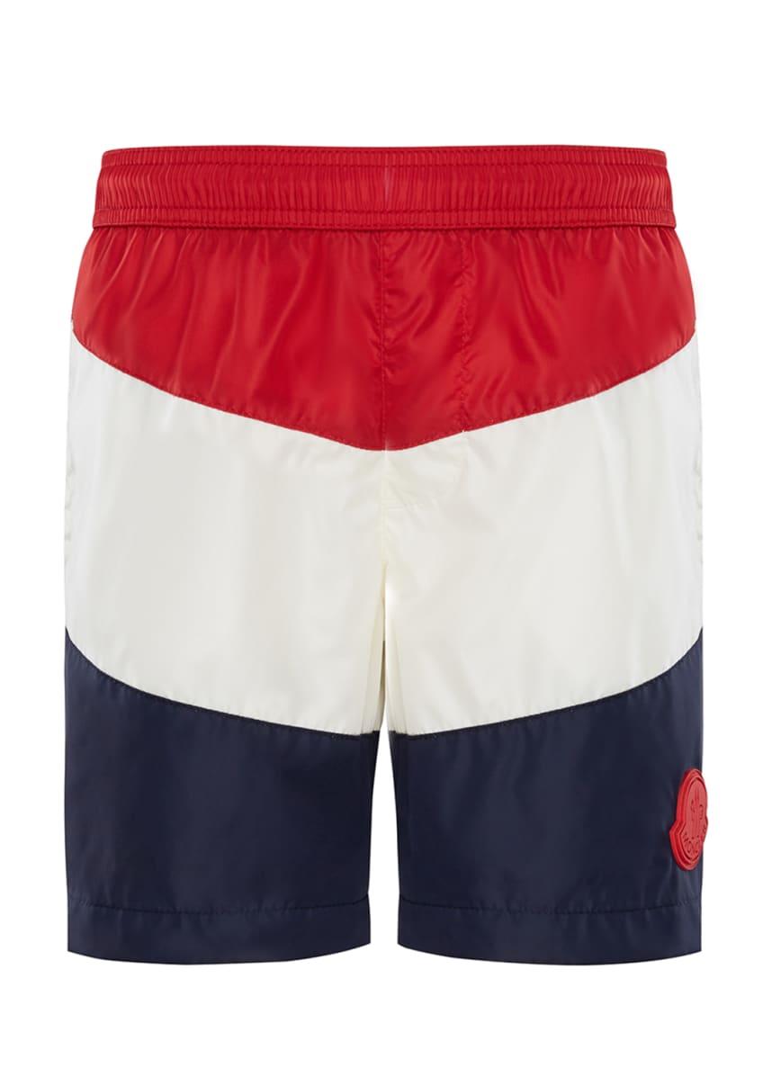 Moncler Colorblock Swim Trunks, Size 4-6 & Matching