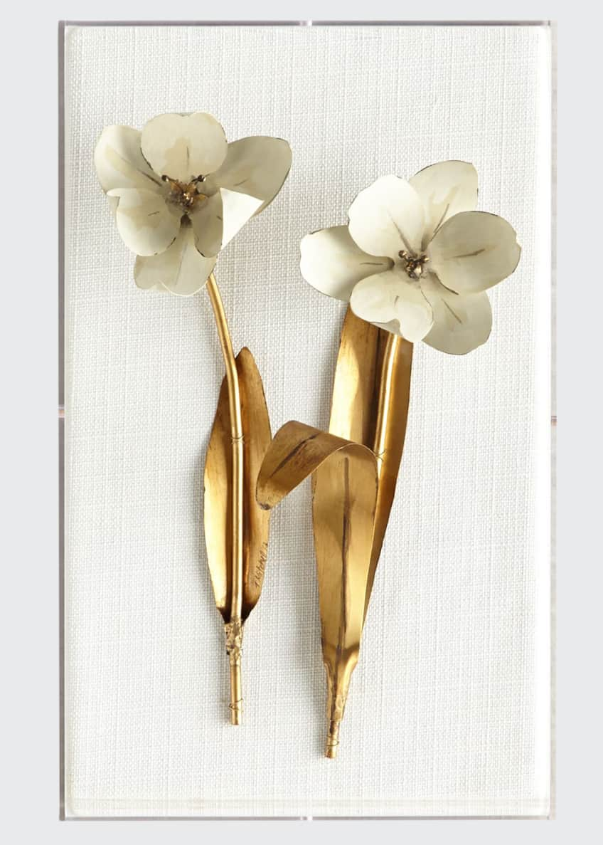 Image 1 of 1: Original Gilded Tulip on White Linen