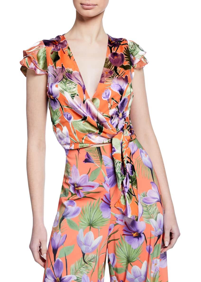 Alice + Olivia Zabel Floral-Print Cropped Wrap Top