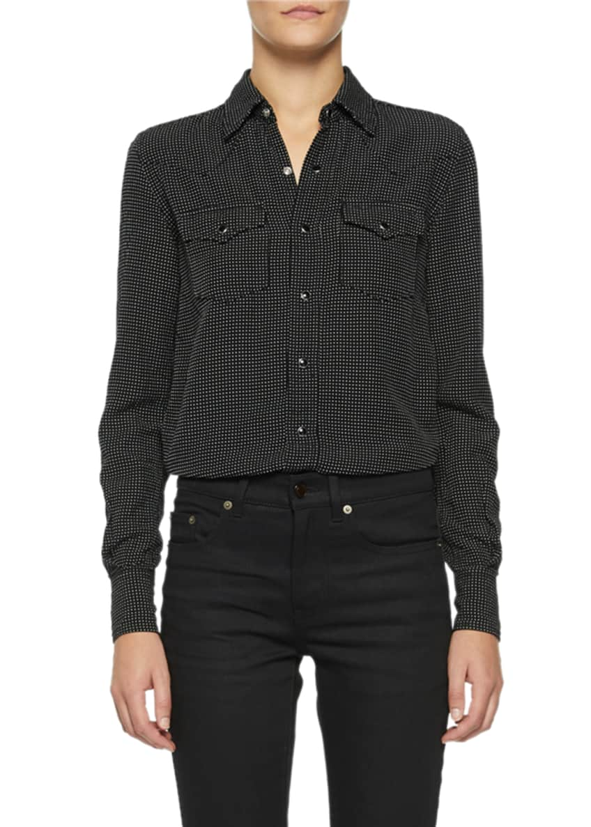 Saint Laurent Dotted Snap-Front Shirt & Matching Items