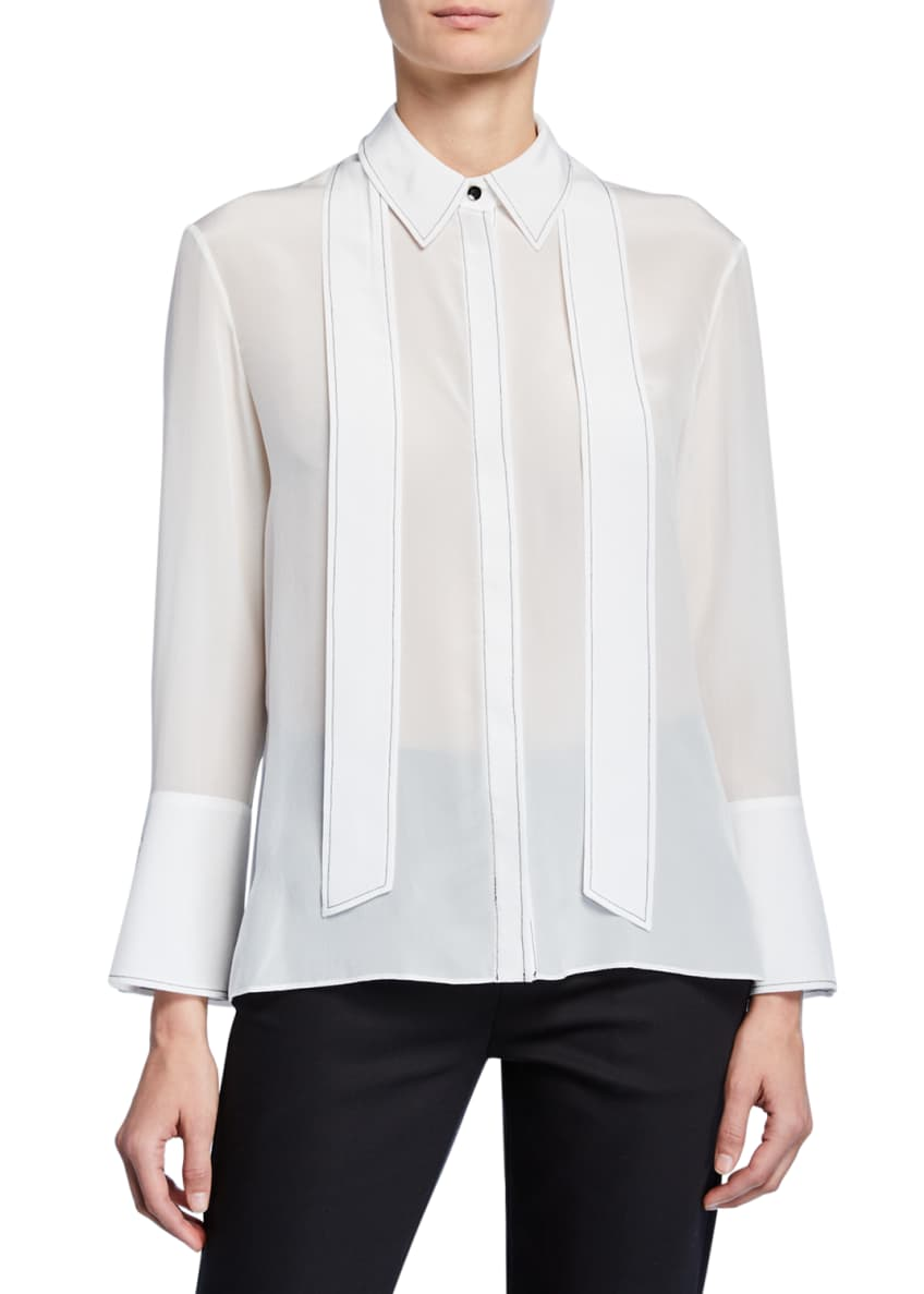 Alice + Olivia Boyd Button-Down Oversized Tie-Neck Silk