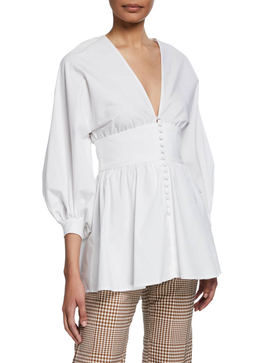 Lela Rose Full-Sleeve V-Neck Button-Front Top & Matching