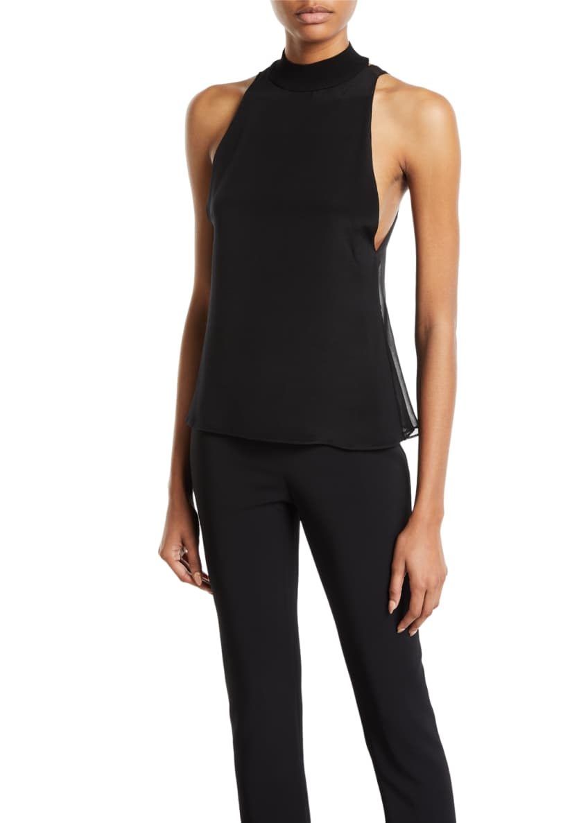 CUSHNIE Sleeveless Sheer-Back Mock-Neck Top & Matching Items