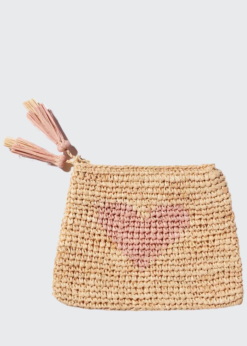 AERIN Heart Raffia Zip Pouch, Pink